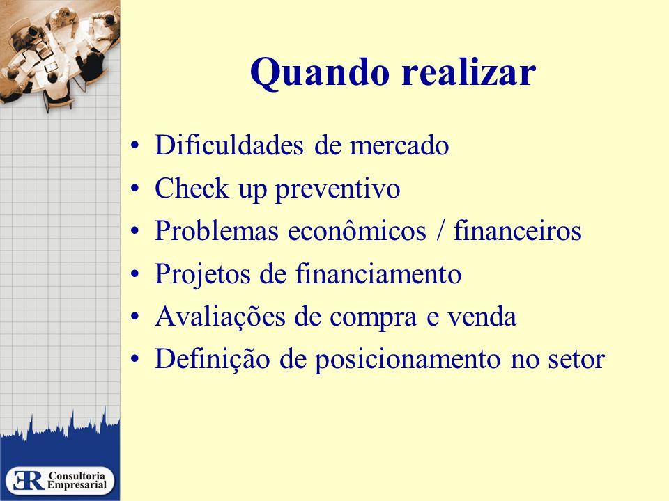 Quando realizar Dificuldades de mercado Check up preventivo Problemas econômicos / financeiros Projetos de financiamento Avaliações de compra e venda