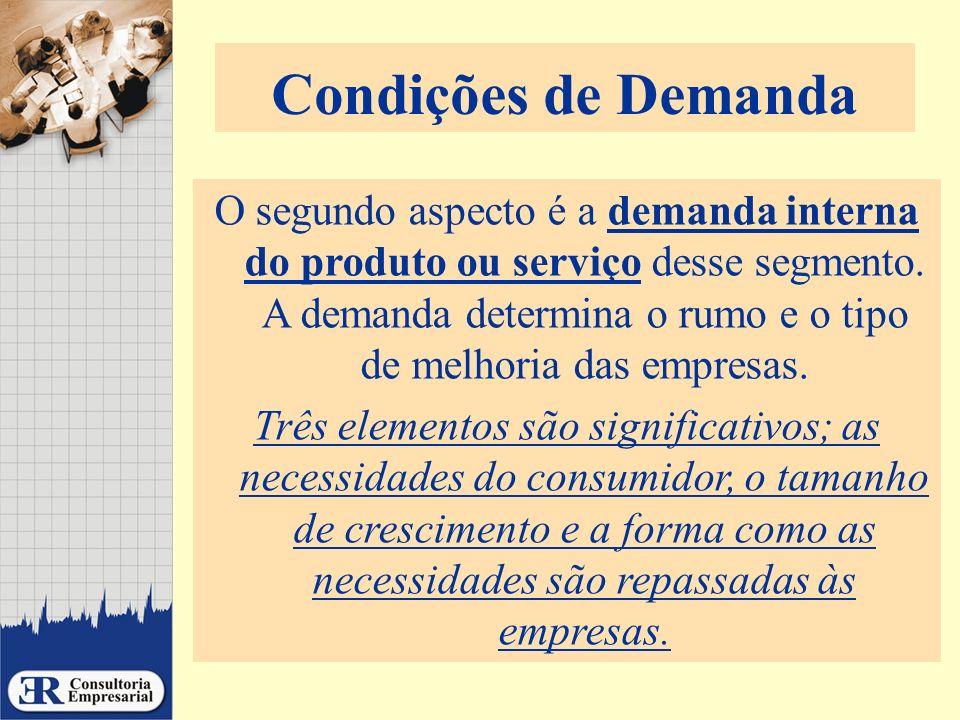Condições de Demanda O segundo aspecto é a demanda interna do produto ou serviço desse segmento. A demanda determina o rumo e o tipo de melhoria das e