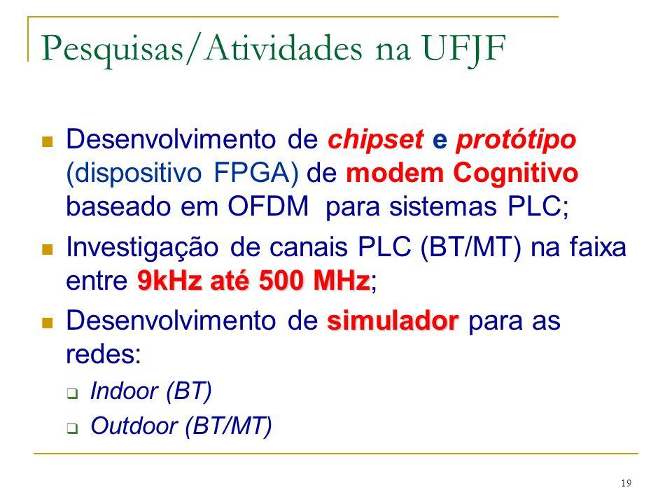 19 Pesquisas/Atividades na UFJF Desenvolvimento de chipset e protótipo (dispositivo FPGA) de modem Cognitivo baseado em OFDM para sistemas PLC; 9kHz até 500 MHz Investigação de canais PLC (BT/MT) na faixa entre 9kHz até 500 MHz; simulador Desenvolvimento de simulador para as redes: Indoor (BT) Outdoor (BT/MT)