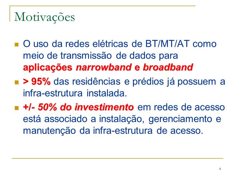 4 Motivações aplicações narrowband e broadband O uso da redes elétricas de BT/MT/AT como meio de transmissão de dados para aplicações narrowband e broadband > 95% > 95% das residências e prédios já possuem a infra-estrutura instalada.