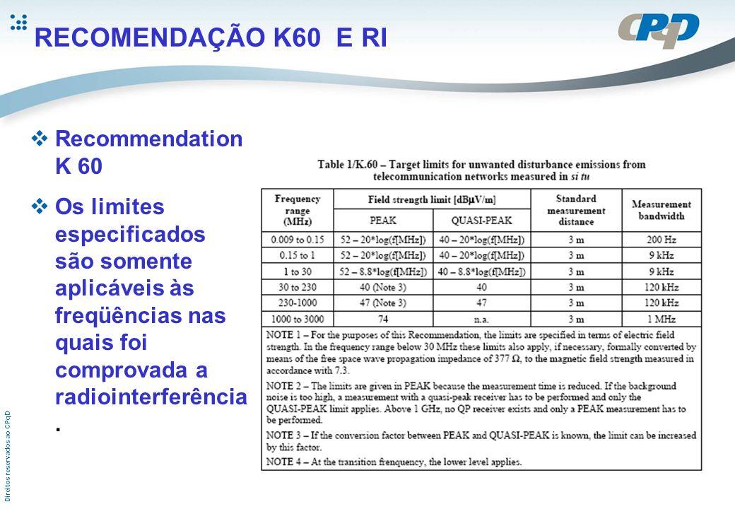 Direitos reservados ao CPqD RECOMENDAÇÃO K60 E RI Recommendation K 60 Os limites especificados são somente aplicáveis às freqüências nas quais foi com