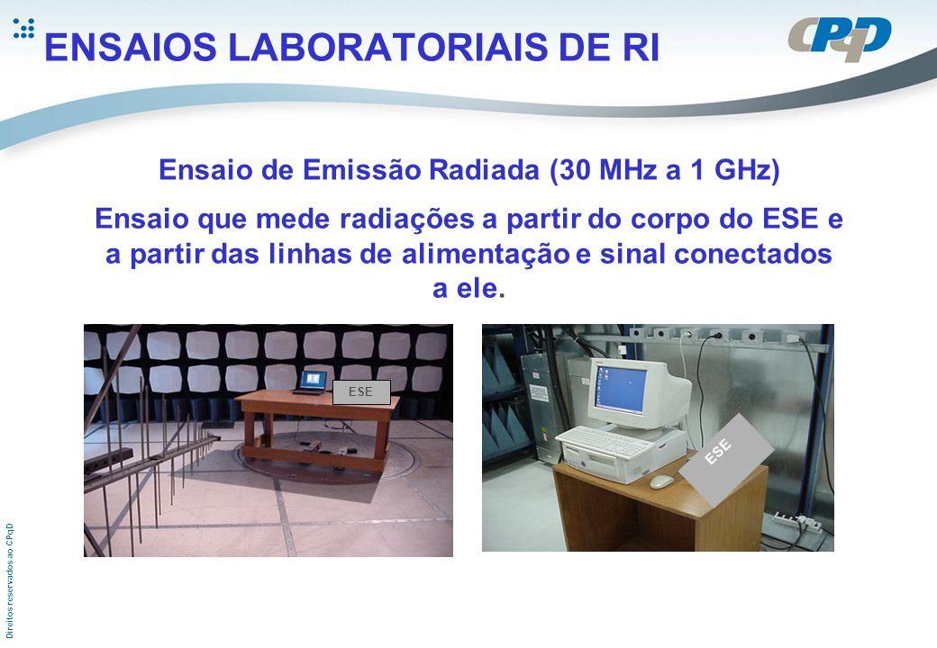 Direitos reservados ao CPqD ENSAIOS LABORATORIAIS DE RI Ensaio de Emissão Radiada (30 MHz a 1 GHz) Ensaio que mede radiações a partir do corpo do ESE