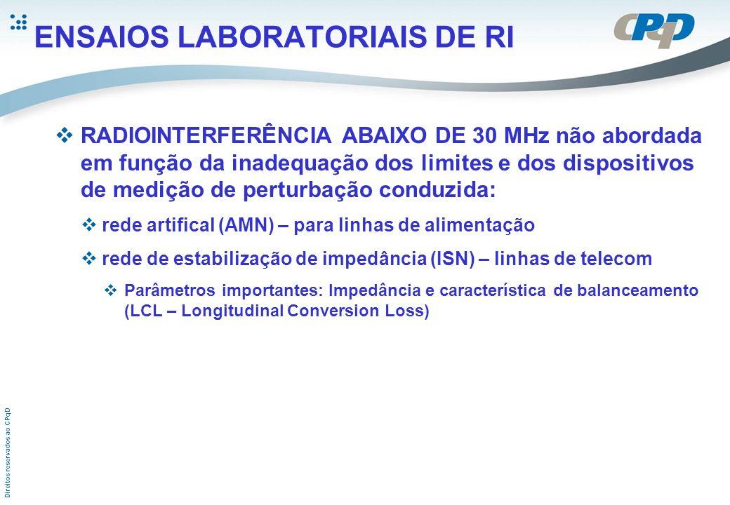 Direitos reservados ao CPqD ENSAIOS LABORATORIAIS DE RI RADIOINTERFERÊNCIA ABAIXO DE 30 MHz não abordada em função da inadequação dos limites e dos di
