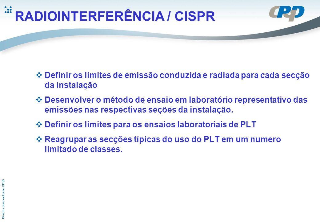 Direitos reservados ao CPqD RADIOINTERFERÊNCIA / CISPR Definir os limites de emissão conduzida e radiada para cada secção da instalação Desenvolver o