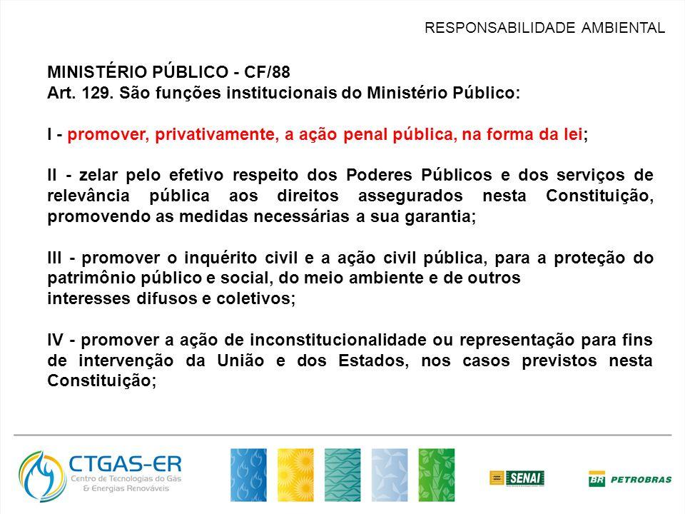 MINISTÉRIO PÚBLICO - CF/88 Art. 129. São funções institucionais do Ministério Público: I - promover, privativamente, a ação penal pública, na forma da