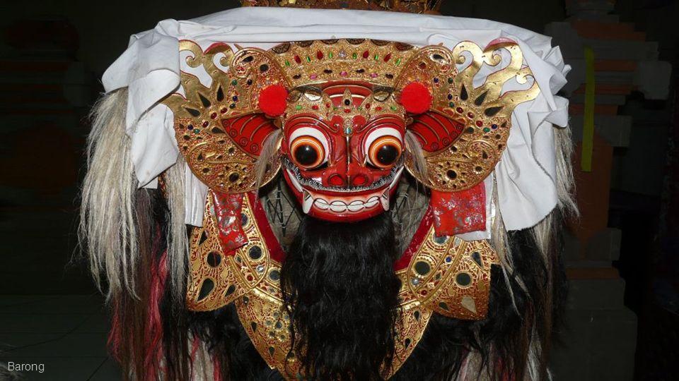 Barong é uma criatura leonina e caráter na mitologia de Bali, na Indonésia. Ele é o rei dos espíritos, o líder das hostes do bem, e inimigo de Rangda,
