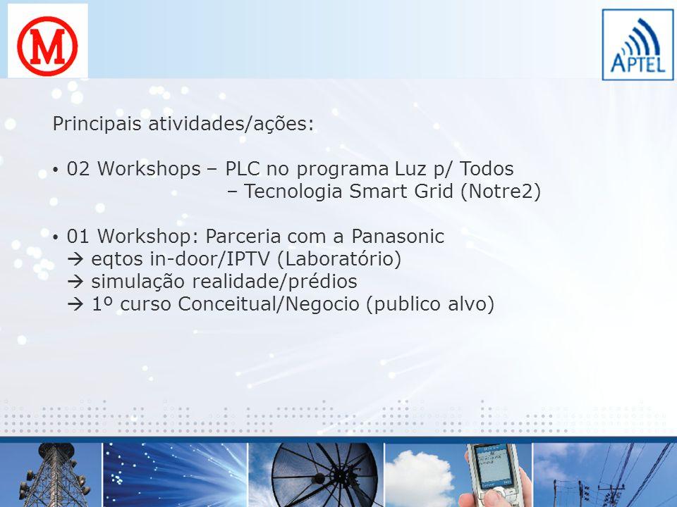 Principais atividades/ações: 02 Workshops – PLC no programa Luz p/ Todos – Tecnologia Smart Grid (Notre2) 01 Workshop: Parceria com a Panasonic eqtos