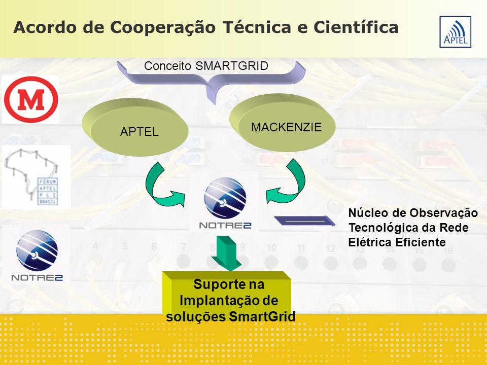 Acordo de Cooperação Técnica e Científica APTEL MACKENZIE Conceito SMARTGRID Suporte na Implantação de soluções SmartGrid Núcleo de Observação Tecnoló