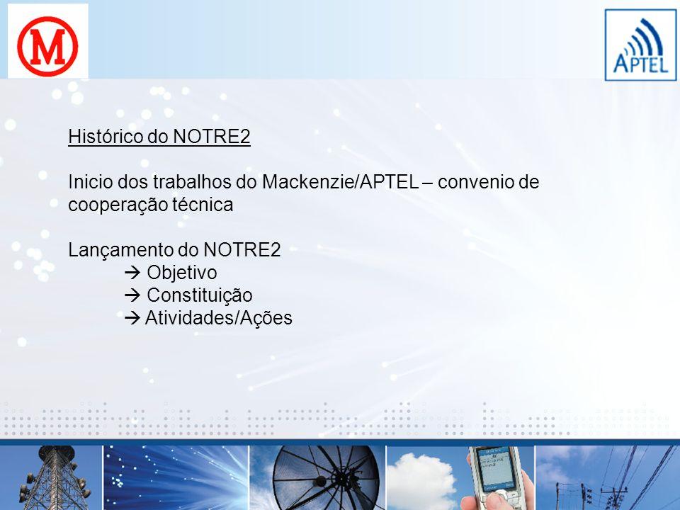 Histórico do NOTRE2 Inicio dos trabalhos do Mackenzie/APTEL – convenio de cooperação técnica Lançamento do NOTRE2 Objetivo Constituição Atividades/Açõ
