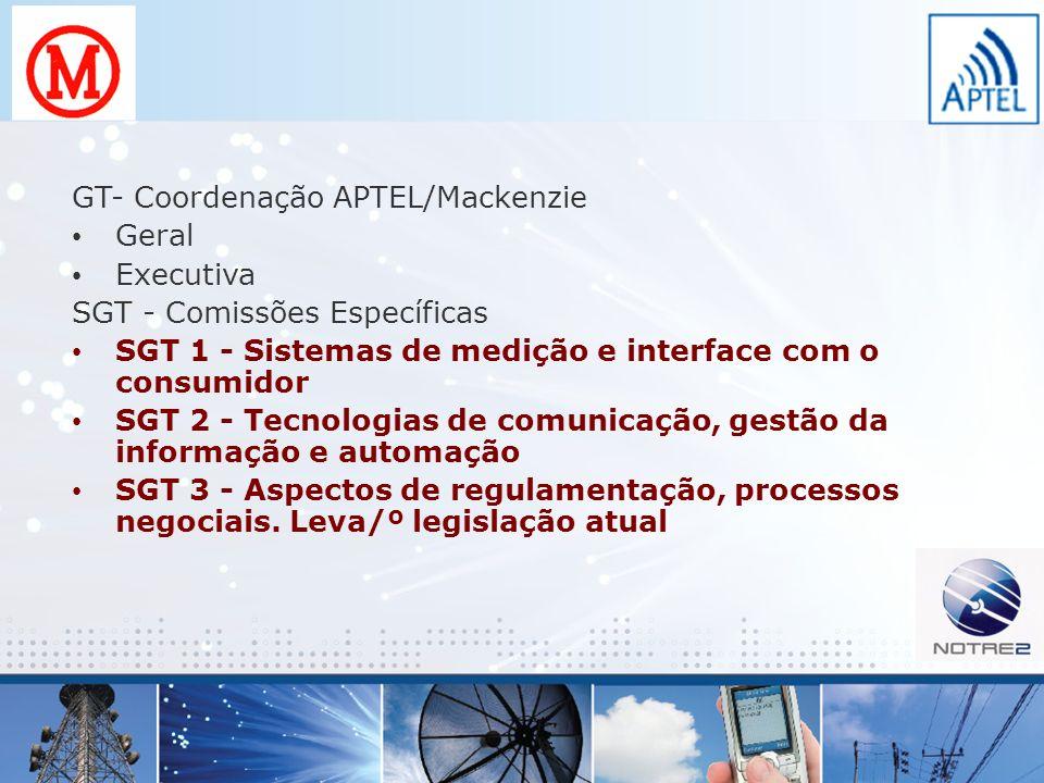 GT- Coordenação APTEL/Mackenzie Geral Executiva SGT - Comissões Específicas SGT 1 - Sistemas de medição e interface com o consumidor SGT 2 - Tecnologi