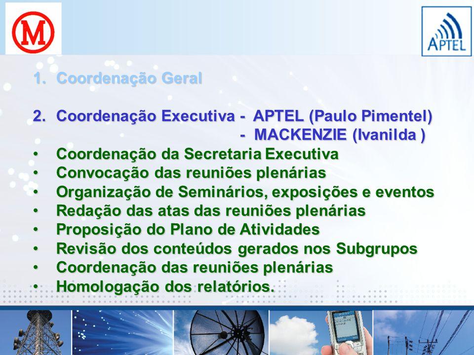 1.Coordenação Geral 2.Coordenação Executiva - APTEL (Paulo Pimentel) - MACKENZIE (Ivanilda ) Coordenação da Secretaria ExecutivaCoordenação da Secreta