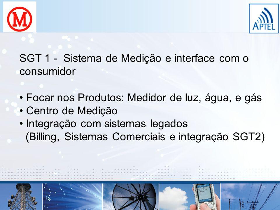 SGT 1 - Sistema de Medição e interface com o consumidor Focar nos Produtos: Medidor de luz, água, e gás Centro de Medição Integração com sistemas lega