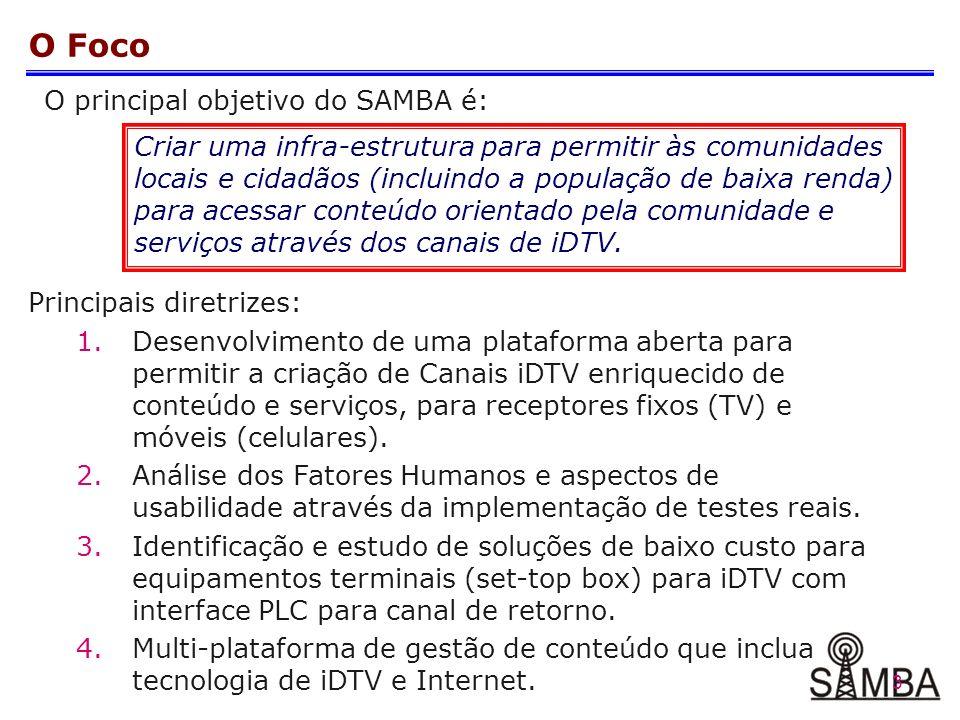 3 O Foco O principal objetivo do SAMBA é: Criar uma infra-estrutura para permitir às comunidades locais e cidadãos (incluindo a população de baixa renda) para acessar conteúdo orientado pela comunidade e serviços através dos canais de iDTV.