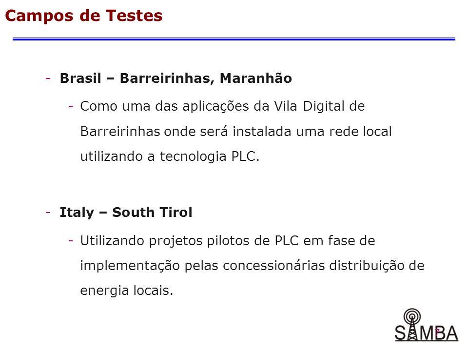 7 -Brasil – Barreirinhas, Maranhão -Como uma das aplicações da Vila Digital de Barreirinhas onde será instalada uma rede local utilizando a tecnologia PLC.