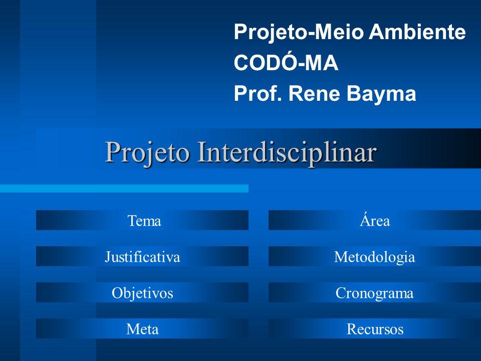 Projeto Interdisciplinar Projeto-Meio Ambiente CODÓ-MA Prof. Rene Bayma Tema Justificativa Objetivos Meta Área Metodologia Cronograma Recursos