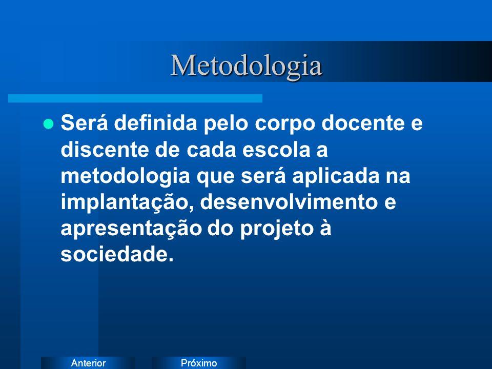 PróximoAnteriorMetodologia Será definida pelo corpo docente e discente de cada escola a metodologia que será aplicada na implantação, desenvolvimento