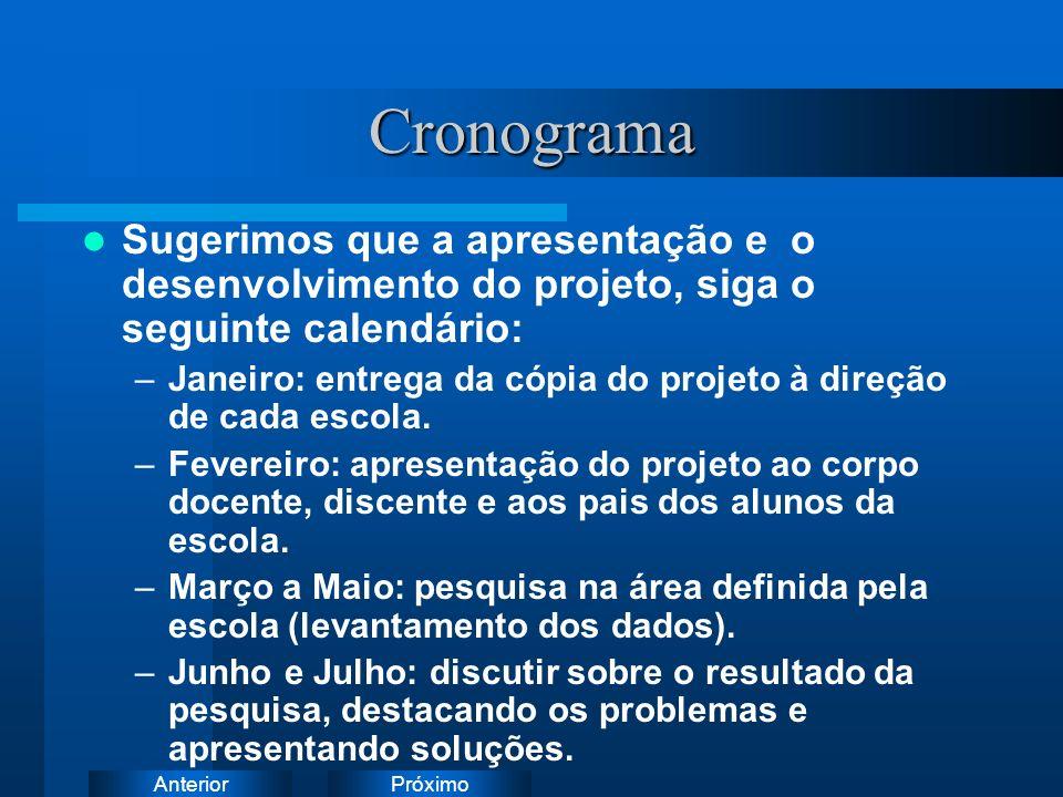 PróximoAnteriorCronograma –Agosto a Novembro: procurar resolver, na prática, os problemas levantados na pesquisa, junto aos órgãos governamentais ( execução do projeto).