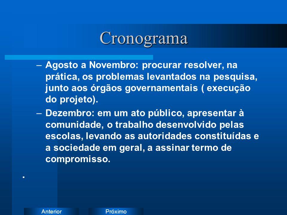 PróximoAnteriorCronograma –Agosto a Novembro: procurar resolver, na prática, os problemas levantados na pesquisa, junto aos órgãos governamentais ( ex