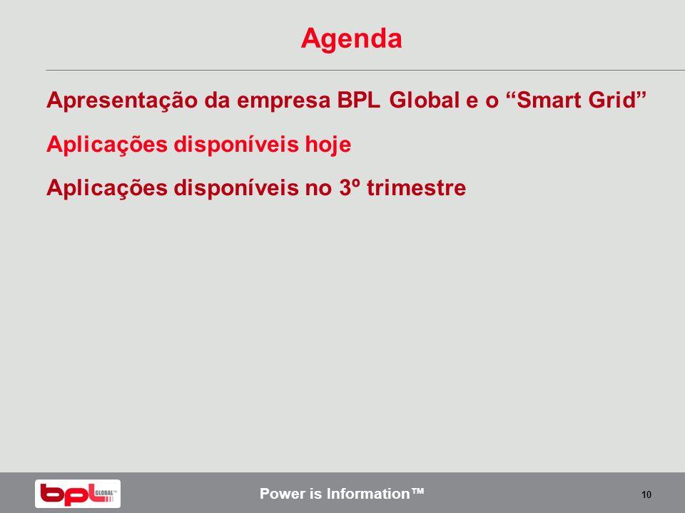 Power is Information 10 Agenda Apresentação da empresa BPL Global e o Smart Grid Aplicações disponíveis hoje Aplicações disponíveis no 3º trimestre