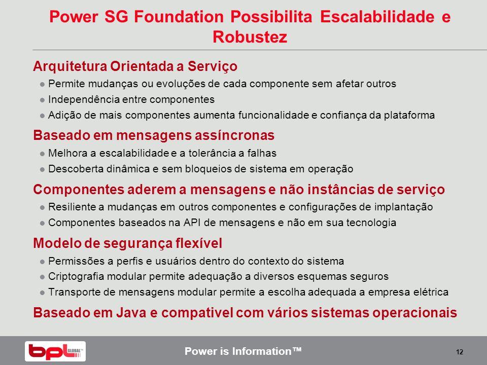 Power is Information 12 Power SG Foundation Possibilita Escalabilidade e Robustez Arquitetura Orientada a Serviço Permite mudanças ou evoluções de cad