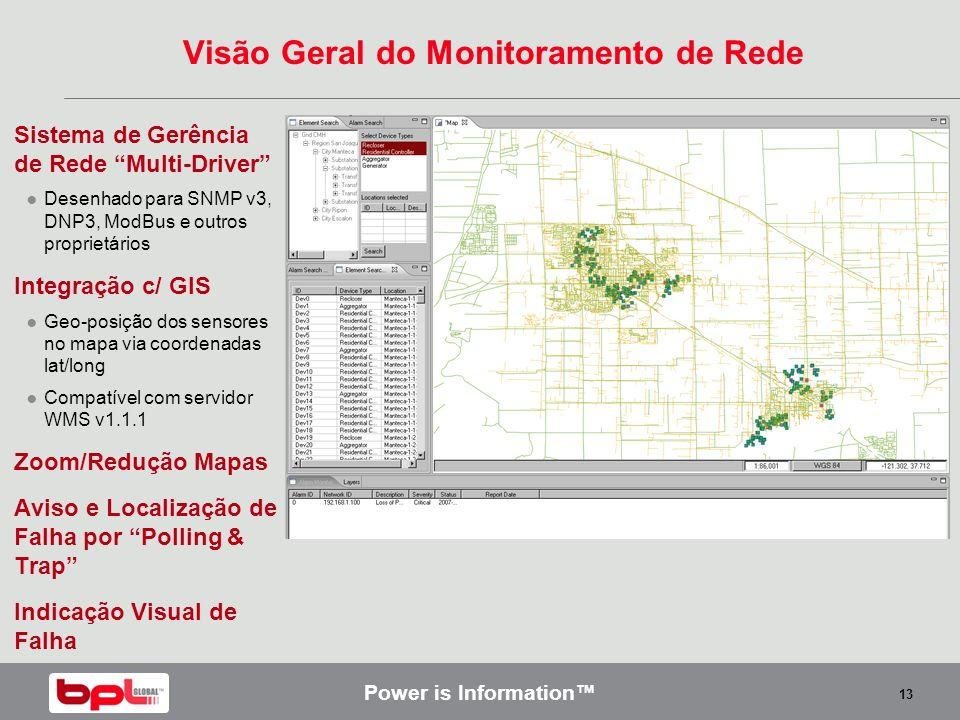 Power is Information 13 Visão Geral do Monitoramento de Rede Sistema de Gerência de Rede Multi-Driver Desenhado para SNMP v3, DNP3, ModBus e outros pr