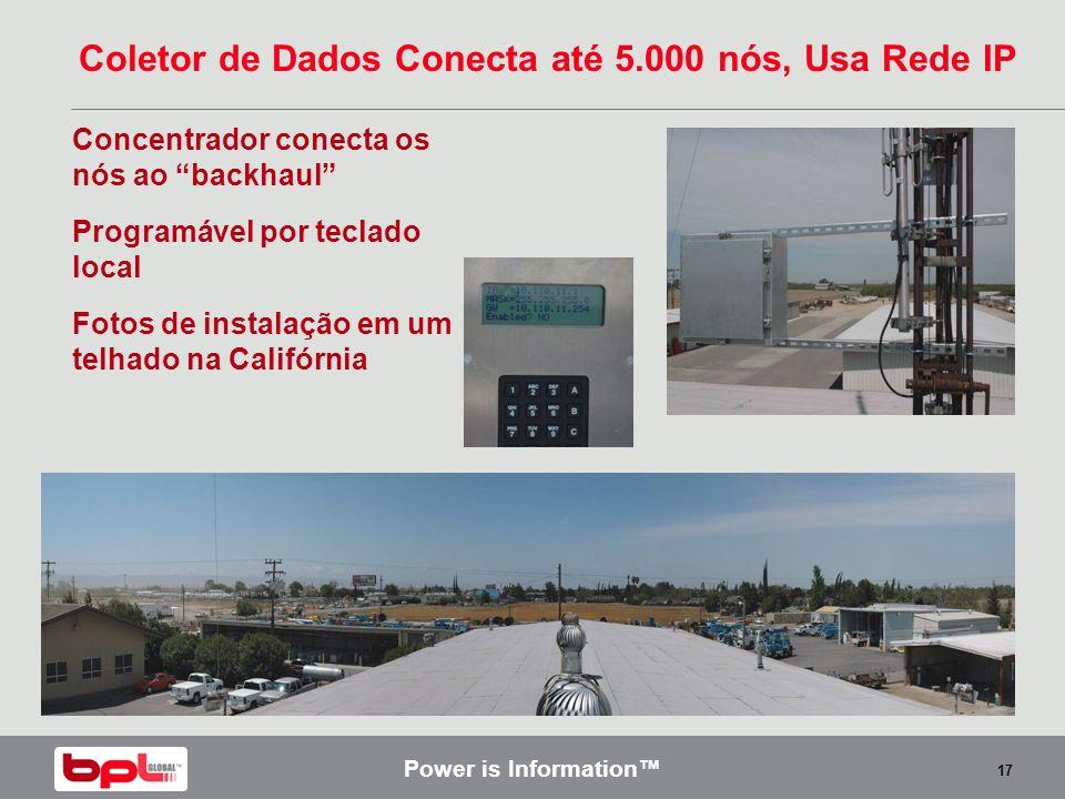 Power is Information 17 Coletor de Dados Conecta até 5.000 nós, Usa Rede IP Concentrador conecta os nós ao backhaul Programável por teclado local Foto