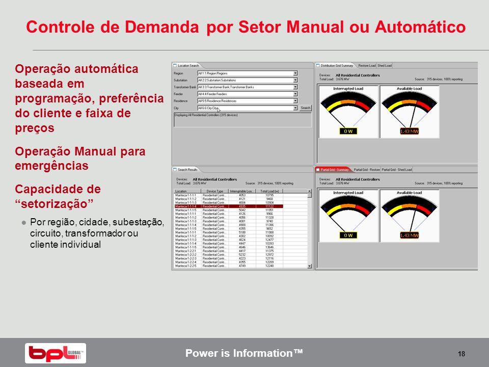 Power is Information 18 Controle de Demanda por Setor Manual ou Automático Operação automática baseada em programação, preferência do cliente e faixa