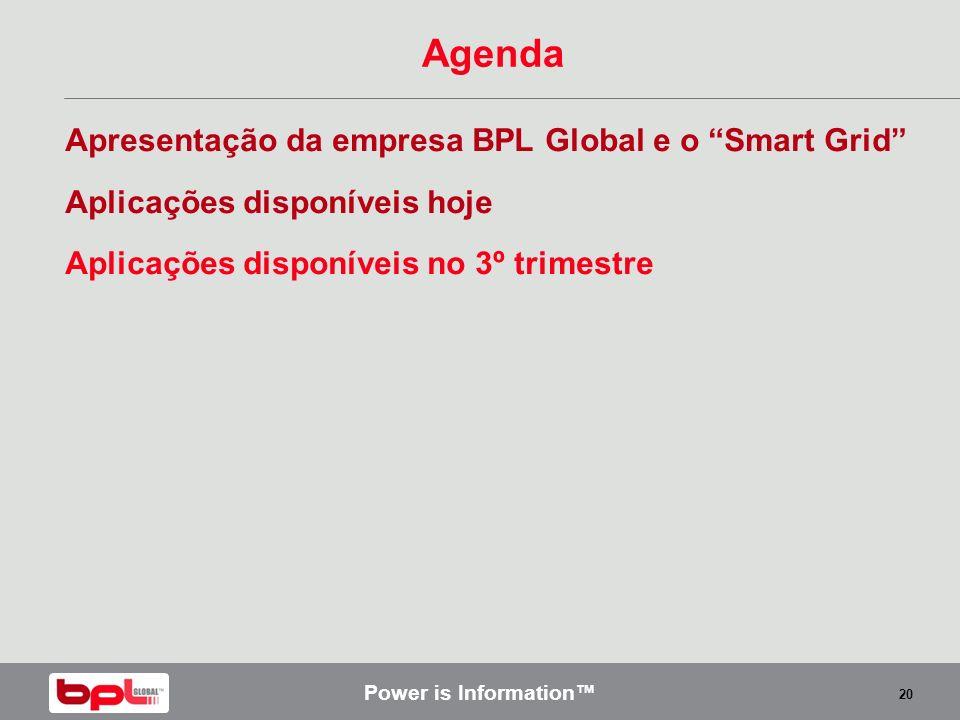 Power is Information 20 Agenda Apresentação da empresa BPL Global e o Smart Grid Aplicações disponíveis hoje Aplicações disponíveis no 3º trimestre