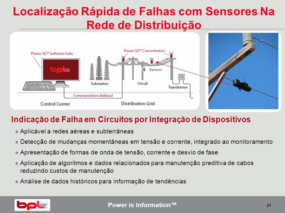 Power is Information 21 Indicação de Falha em Circuitos por Integração de Dispositivos Aplicável a redes aéreas e subterrâneas Detecção de mudanças mo