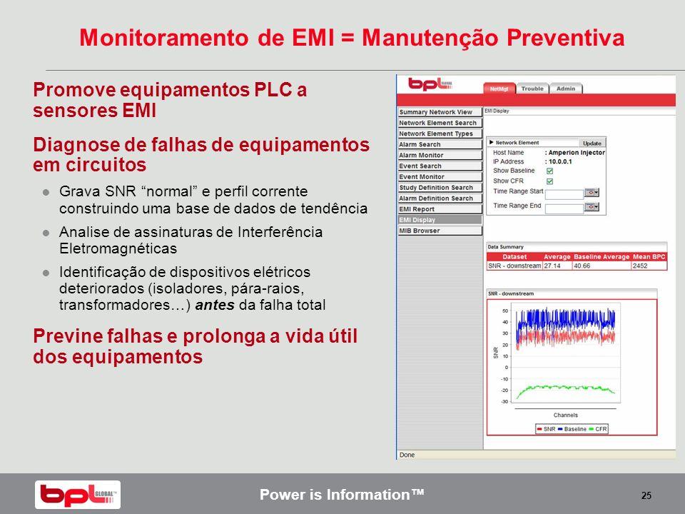 Power is Information 25 Monitoramento de EMI = Manutenção Preventiva Promove equipamentos PLC a sensores EMI Diagnose de falhas de equipamentos em cir
