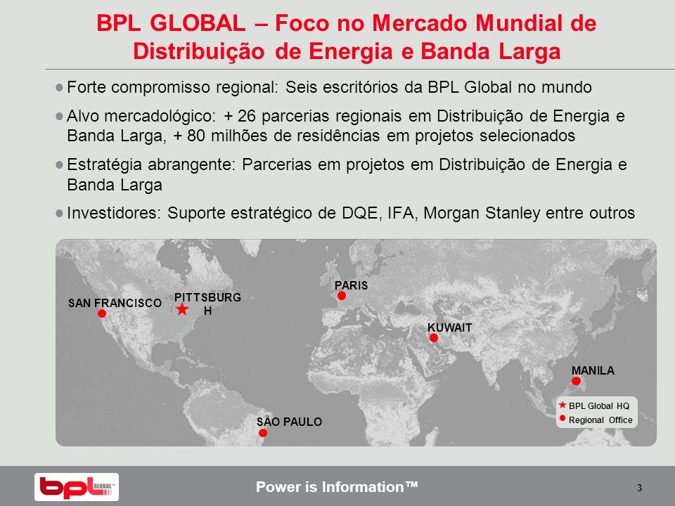 Power is Information 3 BPL GLOBAL – Foco no Mercado Mundial de Distribuição de Energia e Banda Larga Forte compromisso regional: Seis escritórios da B