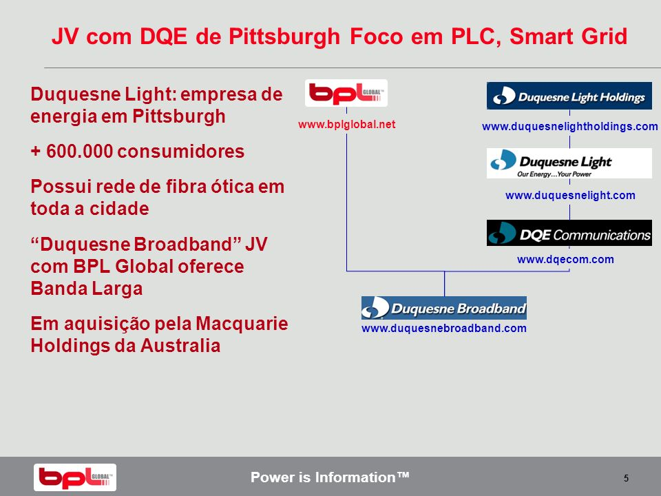 Power is Information 5 JV com DQE de Pittsburgh Foco em PLC, Smart Grid Duquesne Light: empresa de energia em Pittsburgh + 600.000 consumidores Possui