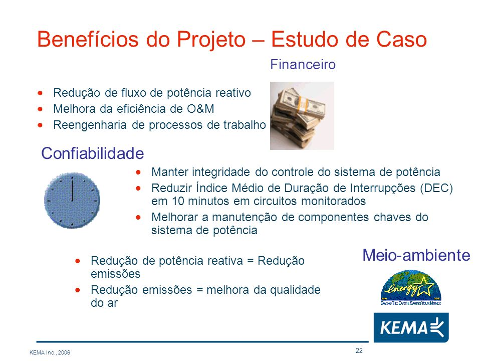 KEMA Inc., 2006 22 Benefícios do Projeto – Estudo de Caso Financeiro Confiabilidade Redução de potência reativa = Redução emissões Redução emissões =