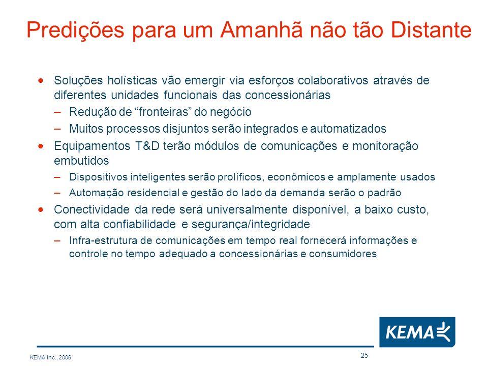 KEMA Inc., 2006 25 Predições para um Amanhã não tão Distante Soluções holísticas vão emergir via esforços colaborativos através de diferentes unidades