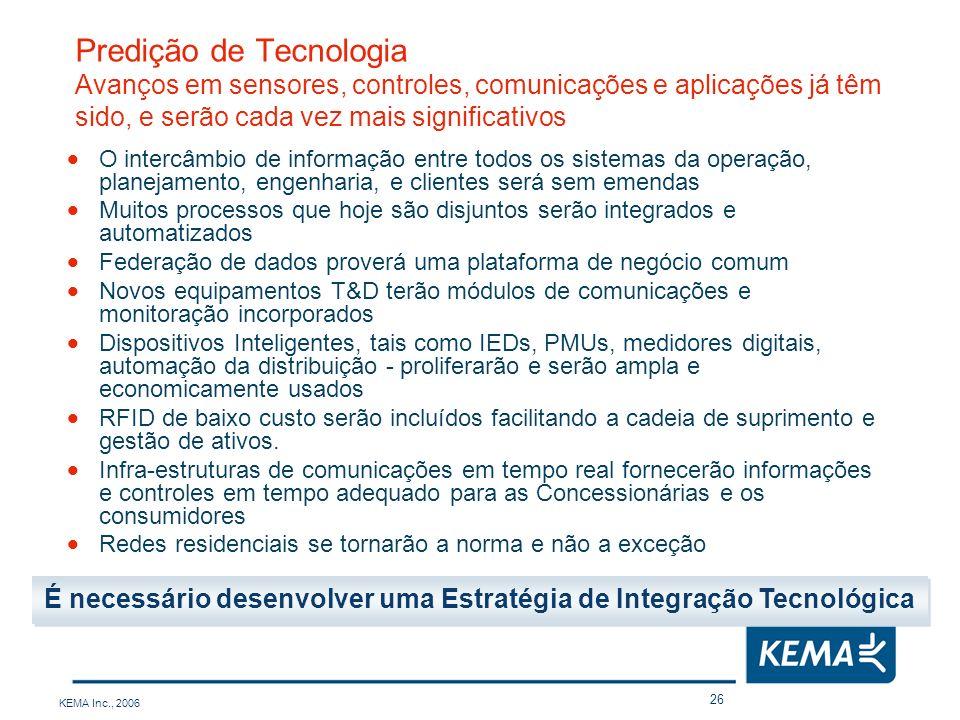 KEMA Inc., 2006 26 Predição de Tecnologia Avanços em sensores, controles, comunicações e aplicações já têm sido, e serão cada vez mais significativos