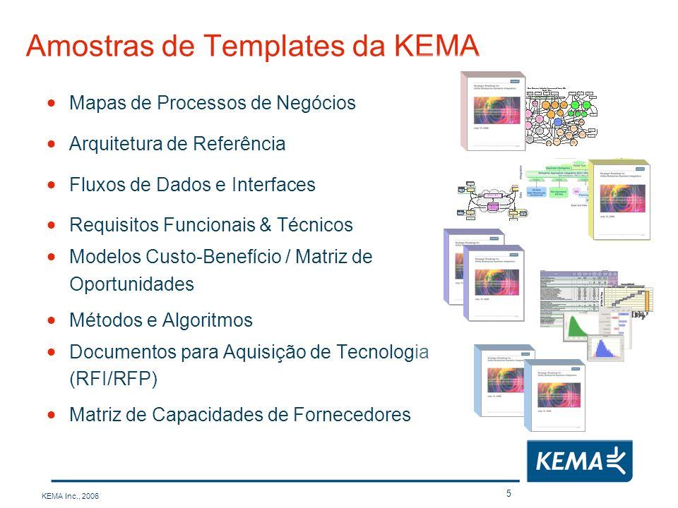 KEMA Inc., 2006 6 Aplicações usando AMI oferecem benefícios significativos Gestão de Interrupções de Energia Detecção e Gestão de Interrupções Localização e Restauração de Interrupções Gestão das Equipes de Trabalho / Equipes Móveis Sistema de Distribuição Serviços aos Clientes AMR (Leitura automatizada) Aperfeiçoamento da Receita Controle Direto da Carga Resposta a Demanda Conexão/Desconexão Remotos Geração Distribuída Operações de Sistema Planejamento & Projeções Despacho Econômico Comutação & Controle Serviços ao Cliente Gestão de Ativos - Monitoração da Saúde dos Equipamentos - Inspeção / Manutenção baseadas na Condição Automação da Distribuição e dos Alimentadores Gerenciamento da Tensão/Reativos Gerenciamento da Qualidade da Energia Câmeras de Supervisão On-site DG Infra-estrutura de Comunicações Integração da Informação