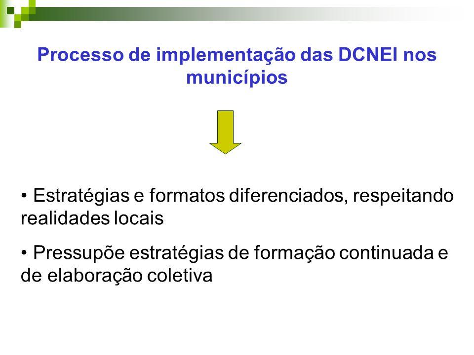 Processo de implementação das DCNEI nos municípios Estratégias e formatos diferenciados, respeitando realidades locais Pressupõe estratégias de formação continuada e de elaboração coletiva