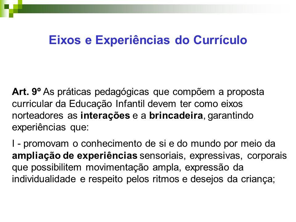 Eixos e Experiências do Currículo Art.