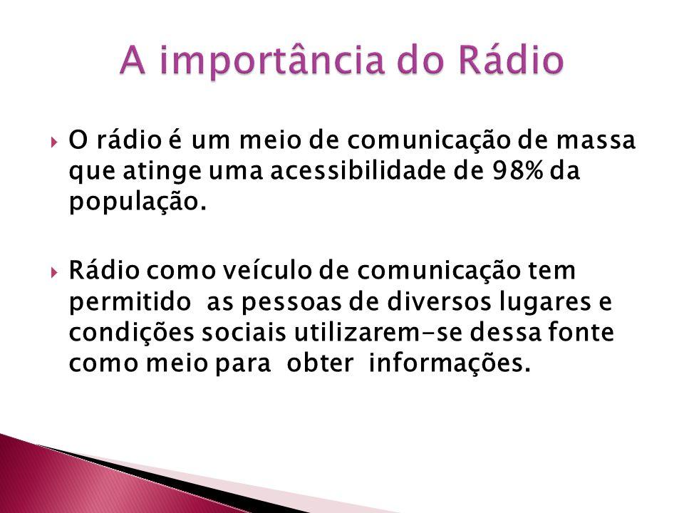 O rádio é um meio de comunicação de massa que atinge uma acessibilidade de 98% da população.