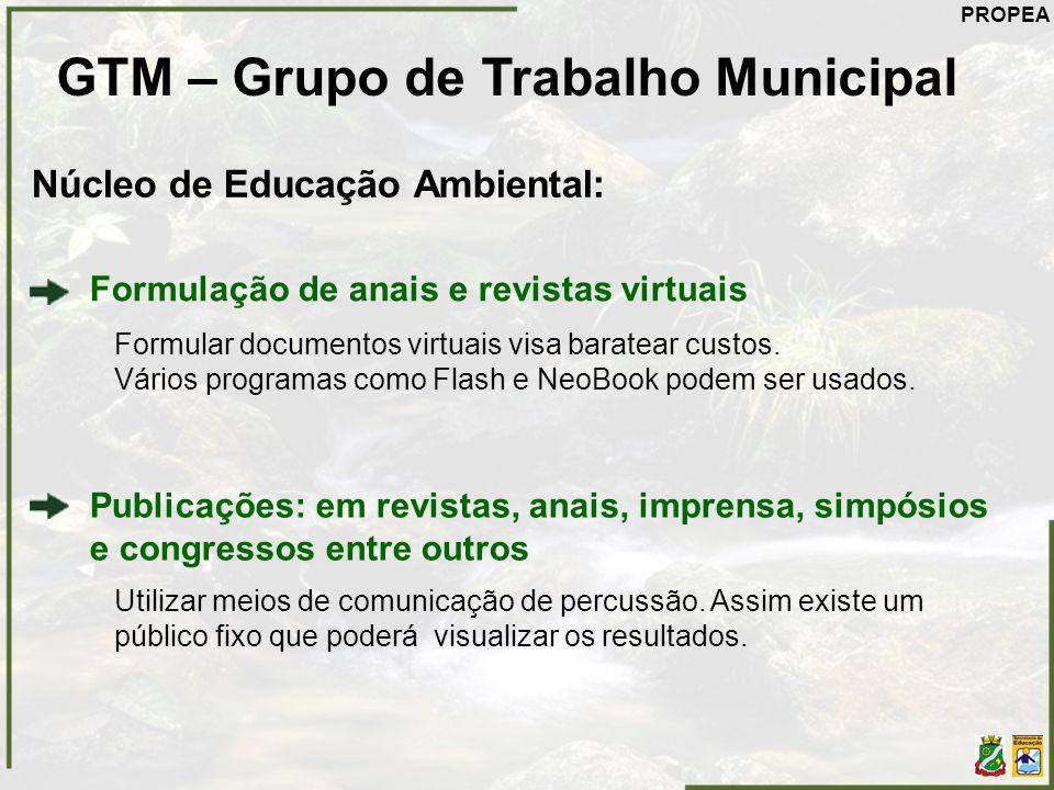GTM – Grupo de Trabalho Municipal Núcleo de Educação Ambiental: Publicações: em revistas, anais, imprensa, simpósios e congressos entre outros Utiliza