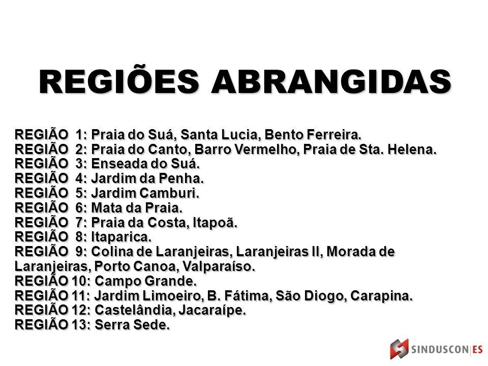 REGIÕES ABRANGIDAS REGIÃO 1: Praia do Suá, Santa Lucia, Bento Ferreira.