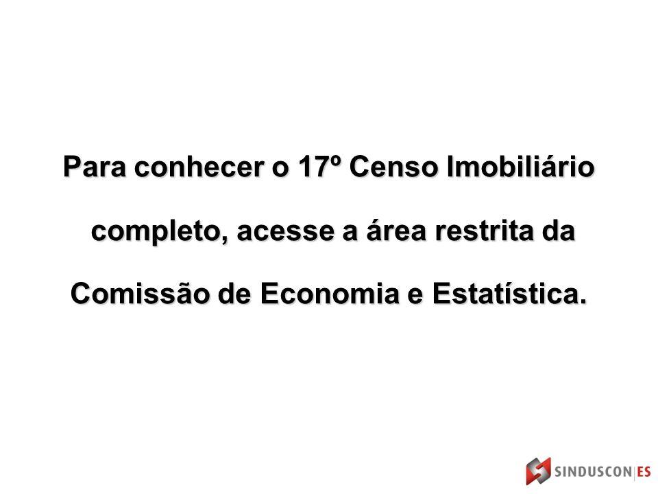 Para conhecer o 17º Censo Imobiliário completo, acesse a área restrita da completo, acesse a área restrita da Comissão de Economia e Estatística.