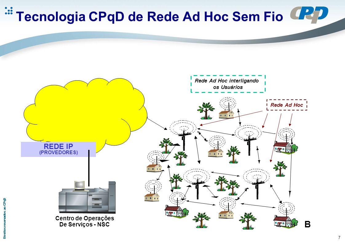 7 Tecnologia CPqD de Rede Ad Hoc Sem Fio Rede Ad Hoc Rede Ad Hoc interligando os Usuários B REDE IP (PROVEDORES) Centro de Operações De Serviços - NSC