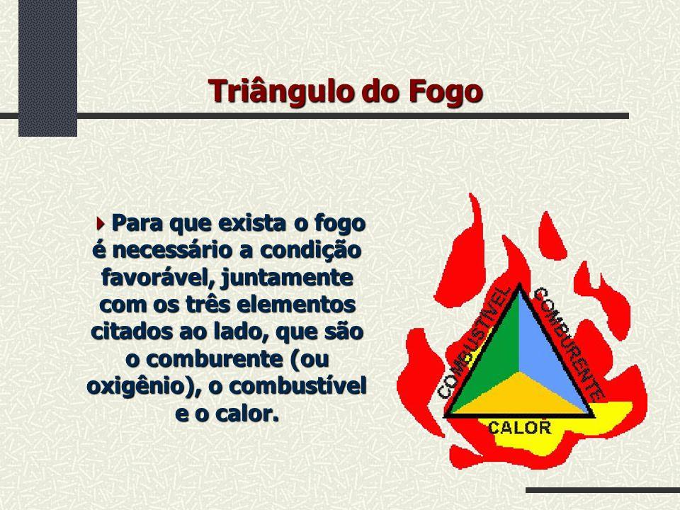 Triângulo do Fogo Para que exista o fogo é necessário a condição favorável, juntamente com os três elementos citados ao lado, que são o comburente (ou