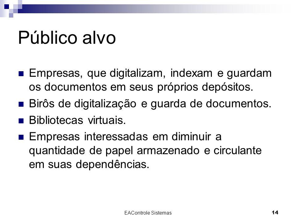 EAControle Sistemas14 Público alvo Empresas, que digitalizam, indexam e guardam os documentos em seus próprios depósitos. Birôs de digitalização e gua