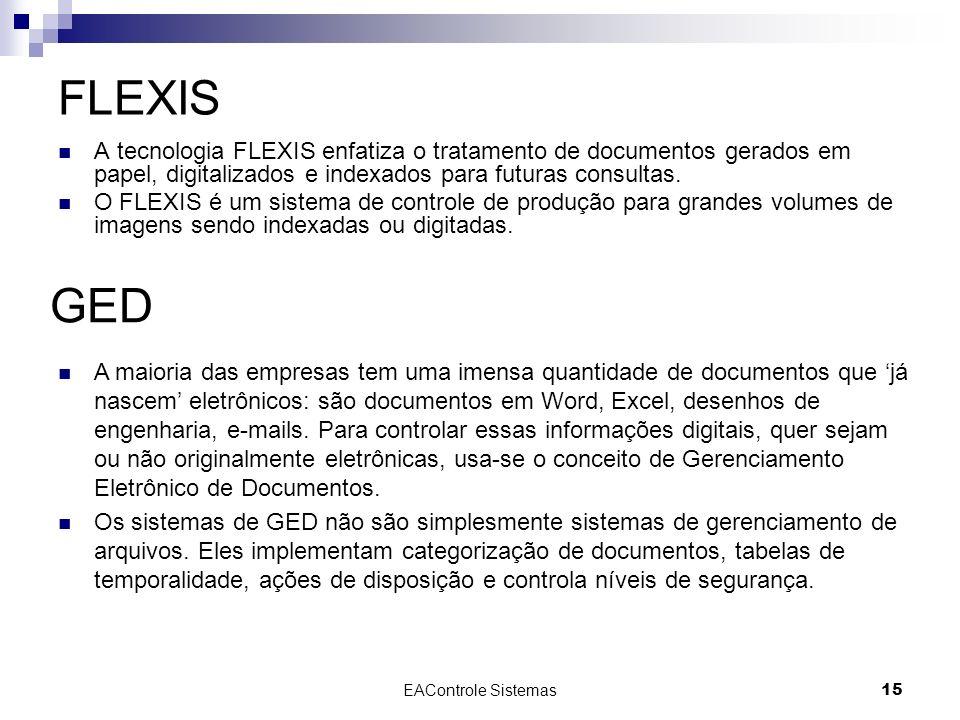 EAControle Sistemas15 FLEXIS A tecnologia FLEXIS enfatiza o tratamento de documentos gerados em papel, digitalizados e indexados para futuras consulta