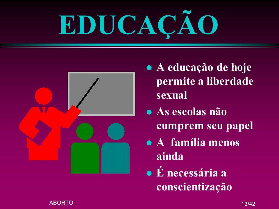 ABORTO 13/42 EDUCAÇÃO l A educação de hoje permite a liberdade sexual l As escolas não cumprem seu papel l A família menos ainda l É necessária a cons
