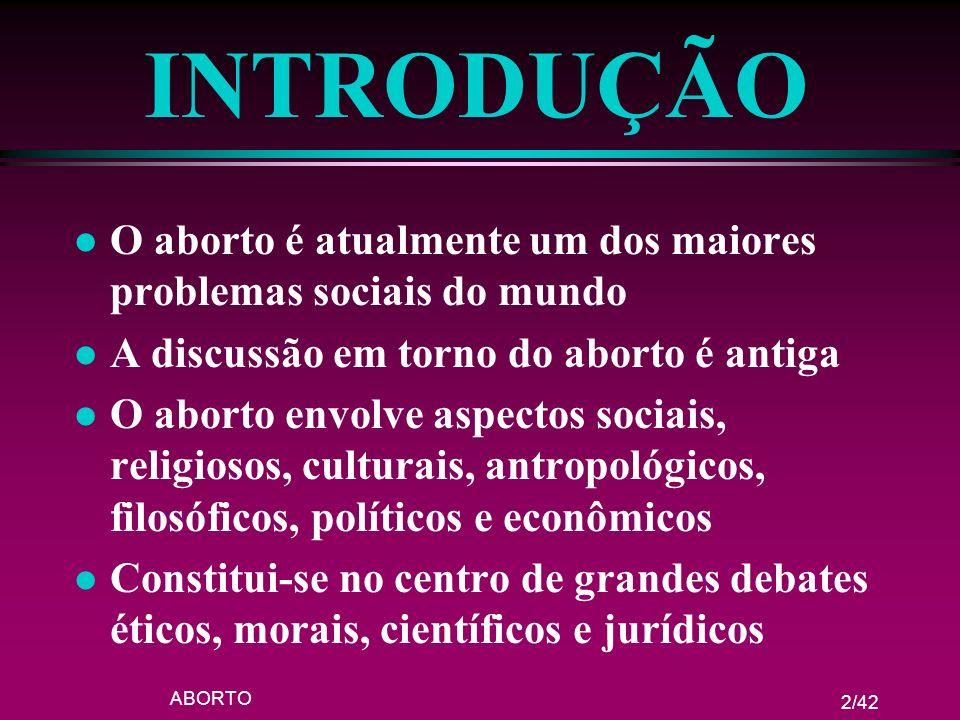 ABORTO 2/42 INTRODUÇÃO l O aborto é atualmente um dos maiores problemas sociais do mundo l A discussão em torno do aborto é antiga l O aborto envolve