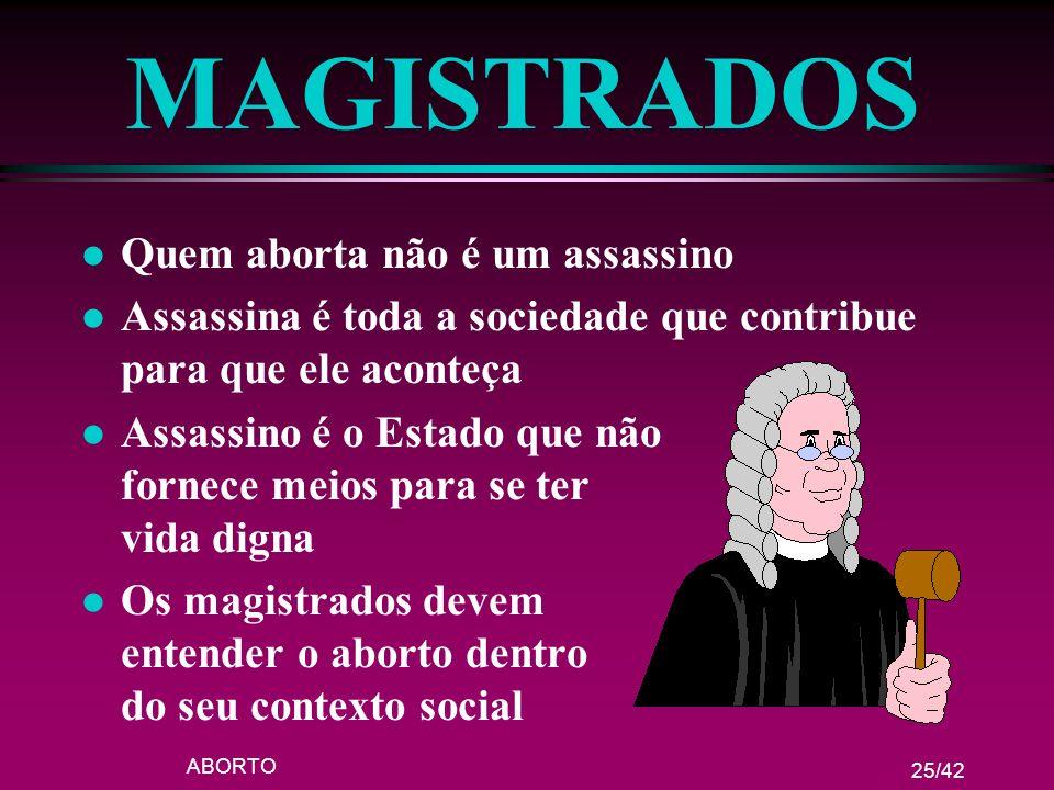 ABORTO 25/42 MAGISTRADOS l Quem aborta não é um assassino l Assassina é toda a sociedade que contribue para que ele aconteça l Assassino é o Estado qu