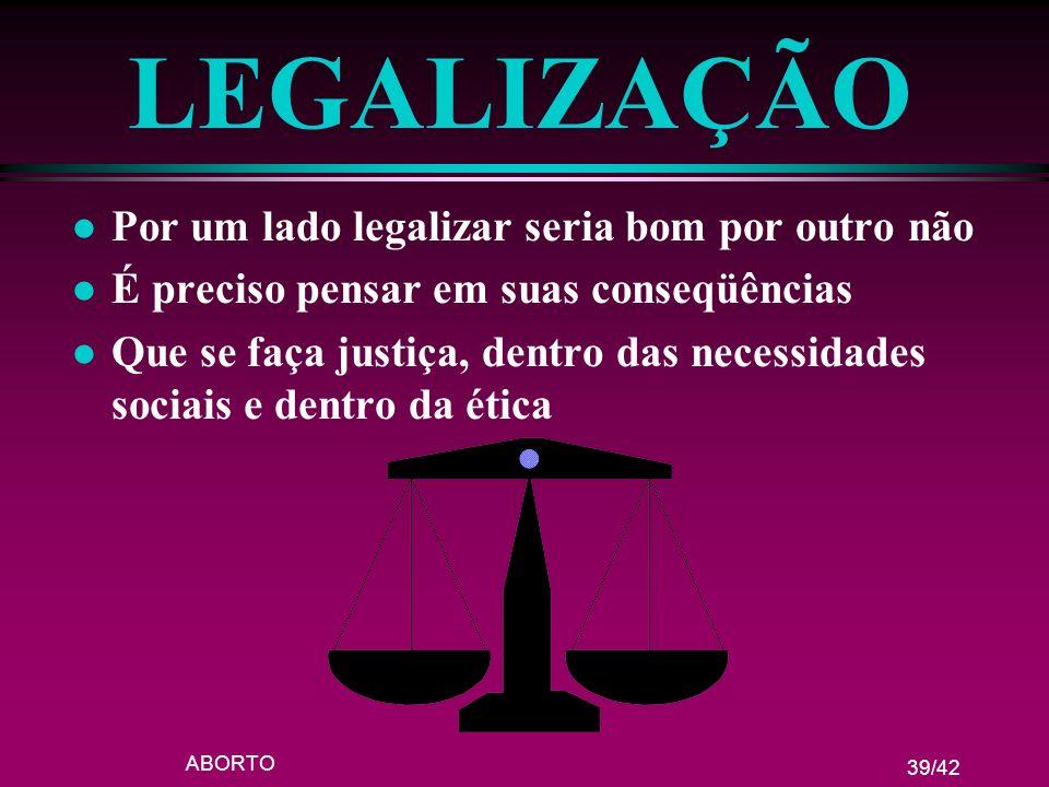 ABORTO 39/42 LEGALIZAÇÃO l Por um lado legalizar seria bom por outro não l É preciso pensar em suas conseqüências l Que se faça justiça, dentro das ne